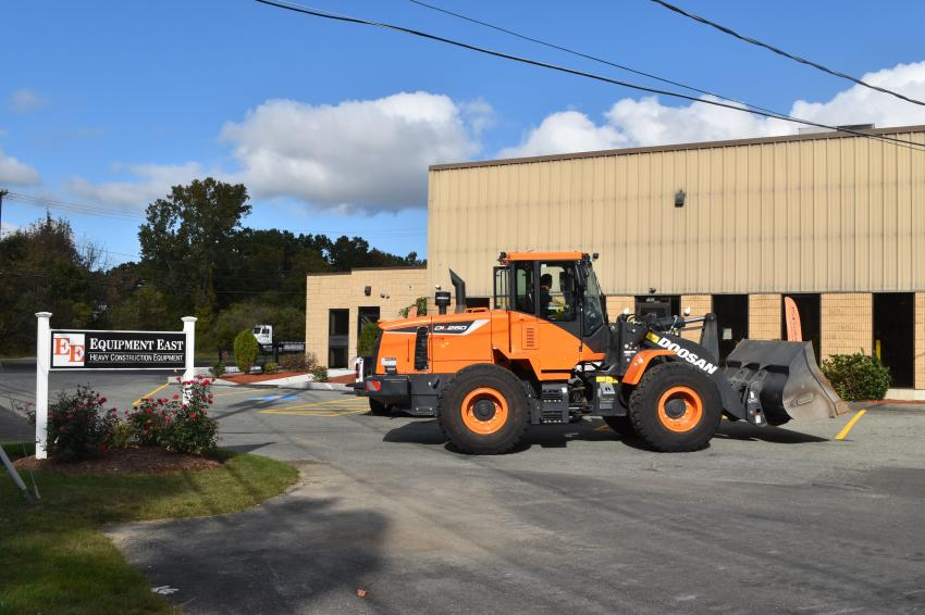The new Equipment East facility is ideally suited for servicing and supporting full-sized equipment, like this Doosan DL250 loader.