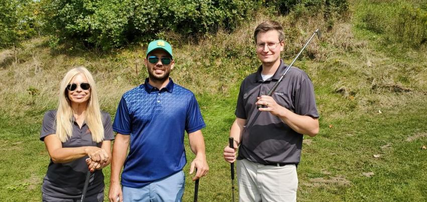 (L-R): Bobbie Hipenbecker, Lee Frea and Jacob Henderson of Vibra-Tech are enjoying the weather at the IAAP golf outing.