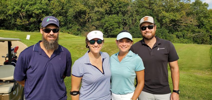 (L-R) is the LafargeHolcim team of Zach Zmudka, Becky Kazmierski, Angie Nickel and Darrel Adams at the WeaverRidge course.