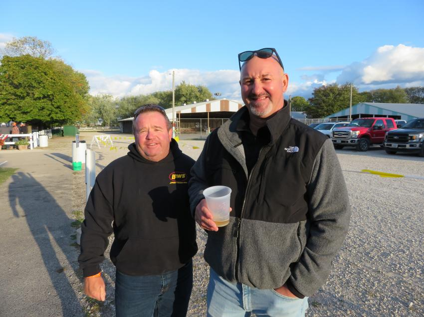 Sharing a few laughs at the Oktoberfest are Brett Praire (L) and Tony Frescura, both of Cement Masons Local 11.