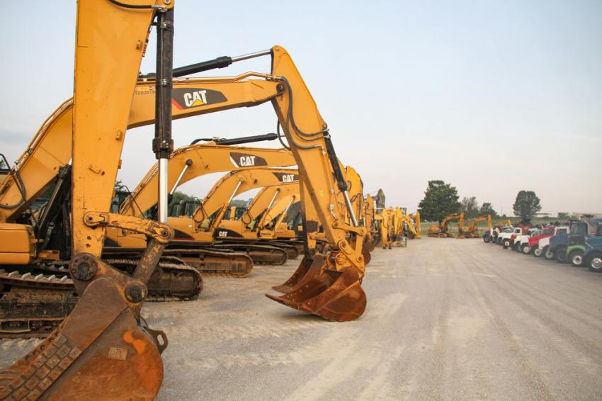 A row of Cat excavators was on display at the Ritchason sales.