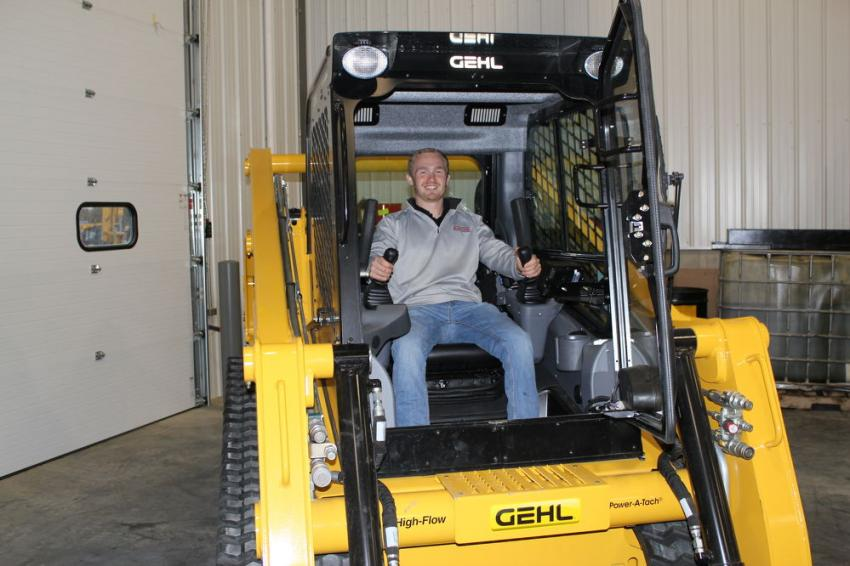 """Josh Phifer, owner of Edge Commercial in Grimes, Iowa, is a possible new Mid Country customer. Phifer was looking to add some of these new Gehl VT320 track loaders to his fleet. """"We heard these are great people here and wanted to come and check it out and see what they have to offer,"""" he said."""
