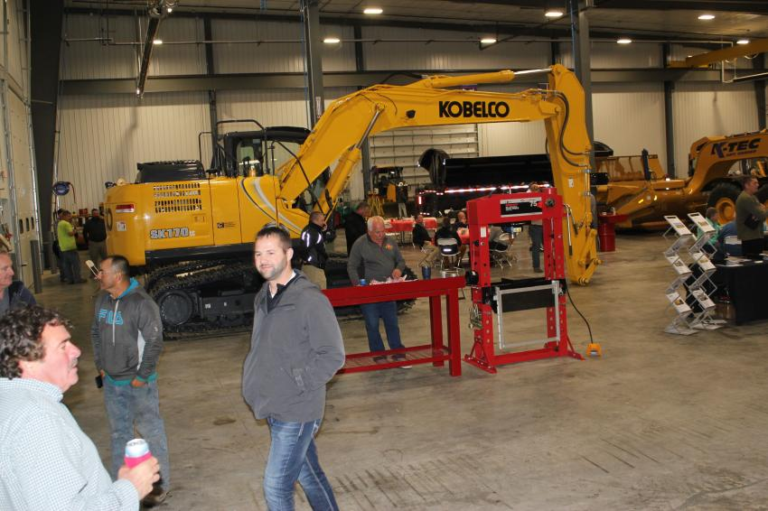 A Kobelco SK170 excavator greeted guests at Mid Country Machinery's first open house in Bondurant, Iowa.