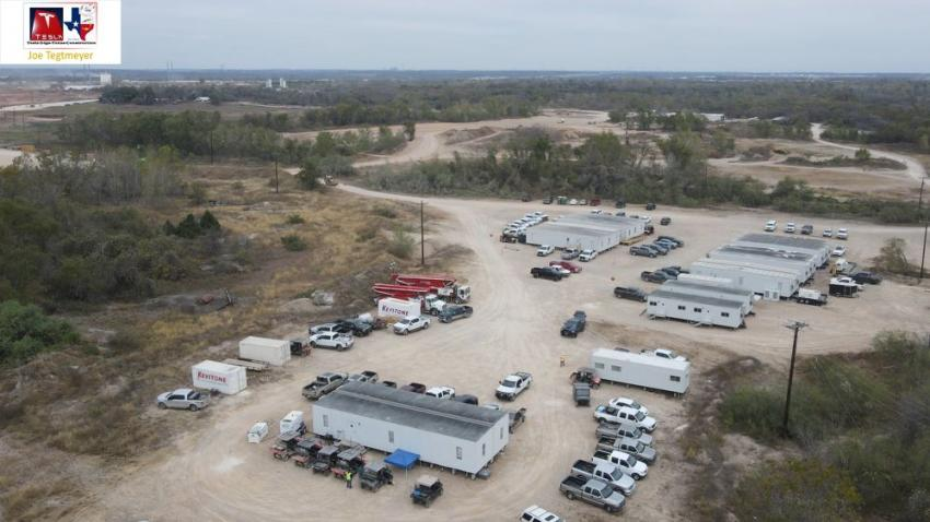 """New footings were installed on the central """"road,"""" new contractor trailers were erected; 9th & 10th columns were installed and many trucks delivered steel columns and beams. (Joe Tegtmeyer photo)"""