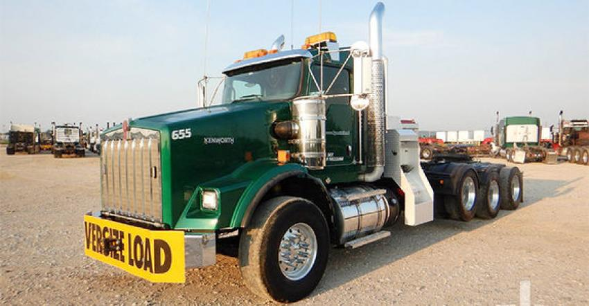 This Kenworth T800W wide nose heavy haul truck was sold for $162,500 as part of an online auction in Kiefer, Okla.