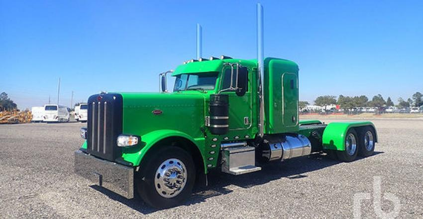 The biggest ticket transport truck sold at Orlando, this 2017 Peterbilt 389 T/A sleeper cab and chassis (lot #3723), sold for $140,000 to a buyer from California.