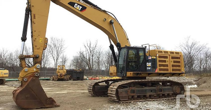 """Excavators are always big sellers at Orlando, and this year the biggest ticket machine was this 2016 Caterpillar 374FL hydraulic excavator (lot #2314V) that sold for $460,000 to a buyer from Michigan. The """"V"""" in the lot number means that this item sold virtually — it was located offsite and was not in the Orlando yard. This virtual sales option allowed customers the convenience of selling their equipment to a global audience from their location."""