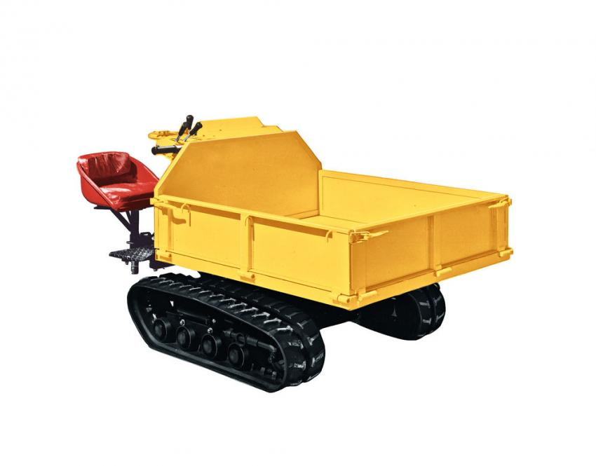1971: By adding  a  cargo  box  to the  undercarriage  of  a  combine  harvester, Yanmar  created the  YFW500D,  the  world's  first tracked  carrier. The YFW500D  was powered  by  a  Yanmar  diesel  engine and  could transport materials on soft ground where trucks and dump trucks could not enter.