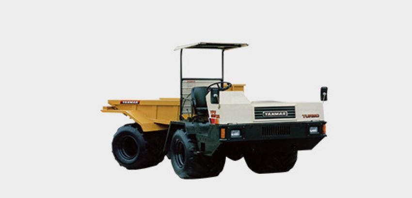 1984: In  the  late  1970s,  the  market  for  wheel  carriers was  growing,  and Yanmar  launched  the  YFW35WA  articulated  wheel  carrier. Equipped with  super flat  special  low-pressure  tires  for  soft  ground, the 27  in. wide,38 in. diameter tires were an unprecedented development among conventional carriers.