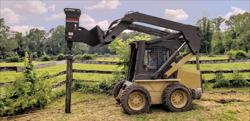 Toku America is now offering a hydraulic post pounder for skid steer loaders and mini-excavators. The bracket design for the skid steer unit was carefully designed to meet the proper hammering angles. Using the special post pounding tool, the TNB-4M will hammer in up to 8-in. diameter posts.
