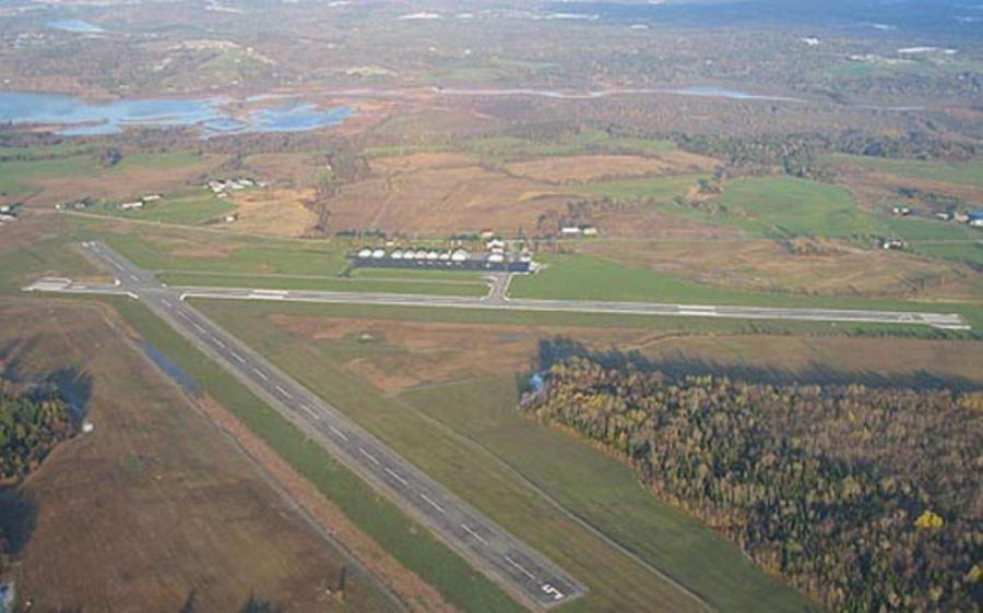 An aerial shot of the Newport State Airport.