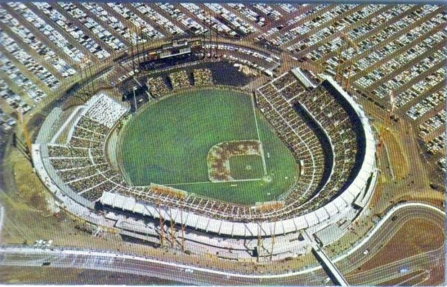 A color photochrome postcard depicting an aerial view of Candlestick Park as seen shortly after it was built in its original open grandstand configuration.