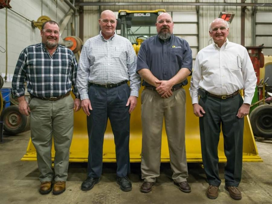 Chadwick-Baross brings SDLG to Maine & New Hampshire - (L-R) Randy Mace, general manager – Concord branch; Gary Thebarge, vice president of customer support; John Thebarge, general manager – Bangor branch; Stuart Welch, president.