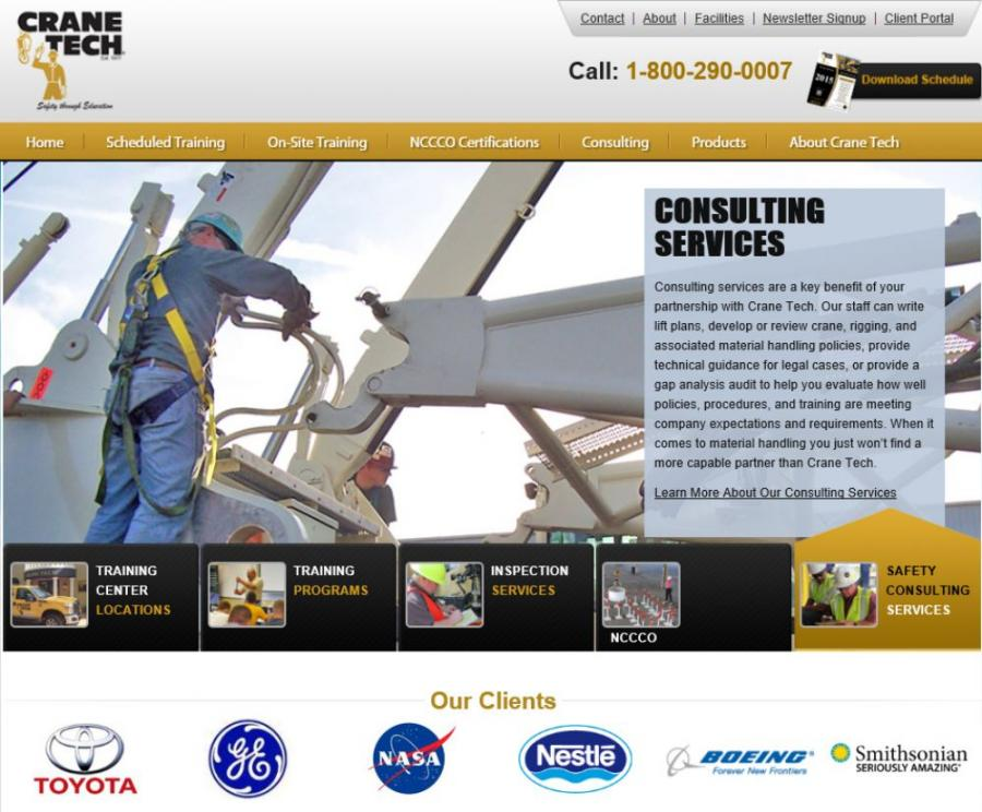 Crane Tech LLC, a company specializing in crane safety and training for the materials handling and construction industries, announced the launch of the newly redesigned web site, www.cranetech.com.