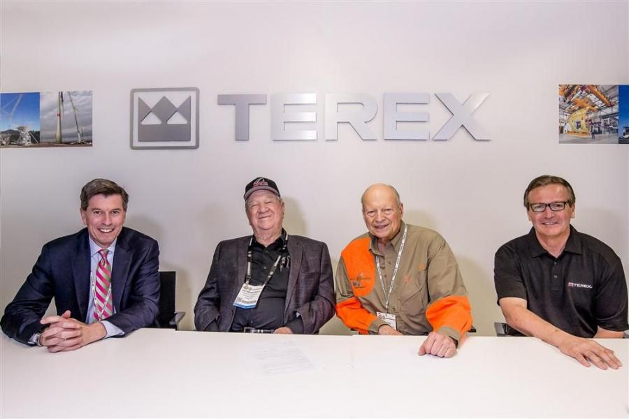 from left to right: Tim Ford, President, Terex Cranes; Raymond Davis, owner Davis Crane; Al Scott, Scott-Macon Equipment; Dan Slater, VP and General Manager, terex Cranes North America.