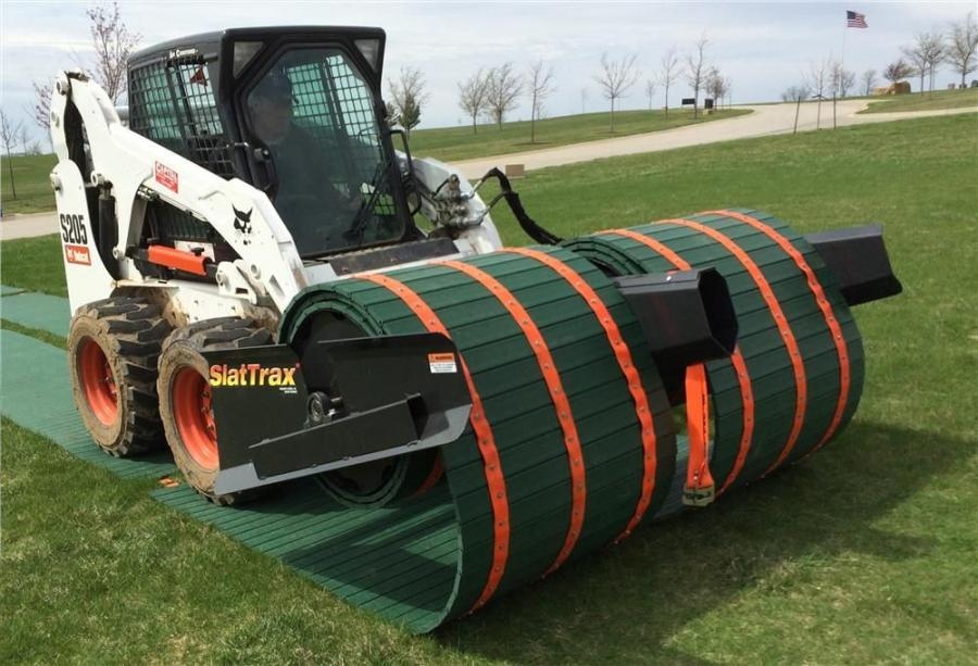 The SlatTrax system attaches to loaders and track machines with a standard quick-attach plate and hydraulic lines.