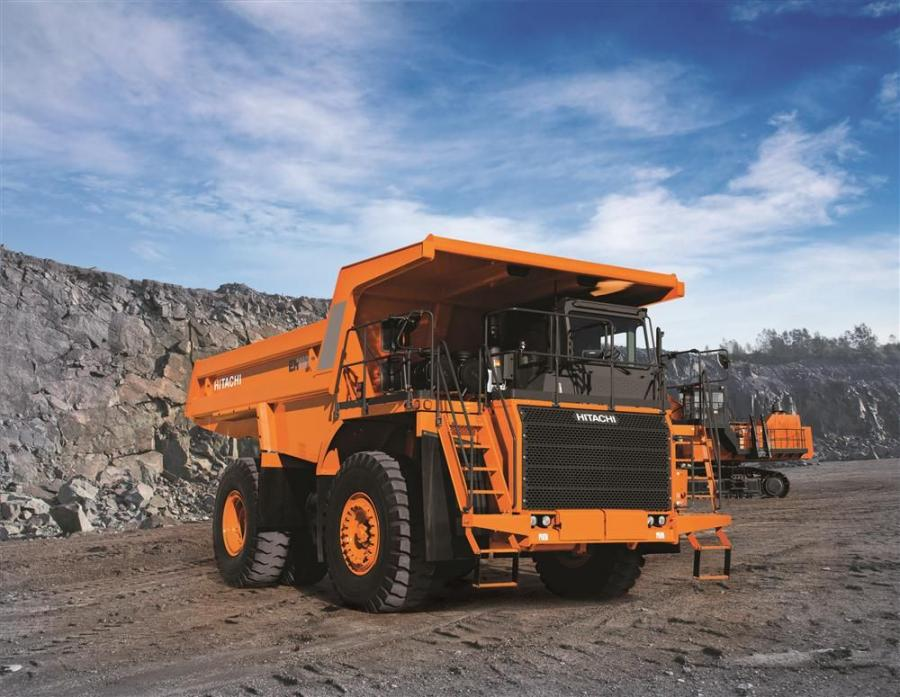 Hitachi is introducing the latest version of the EH1100 rigid dump truck, the EH1100-5, at the show. This latest version of the EH1100 includes improvements to the operator environment, increased machine serviceability, increased payload, more remote moni