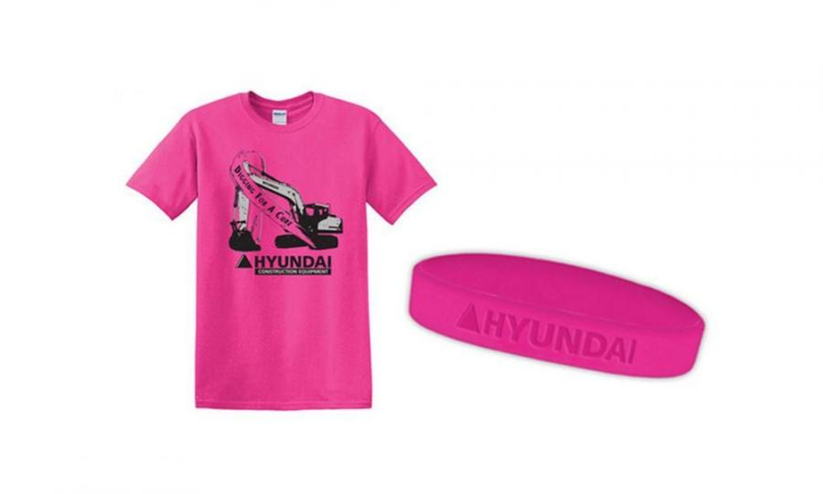"The pink Hyundai ""Digging for a Cure"" T-shirts sell for $12 each. The pink Hyundai wristbands sell for $5 each."