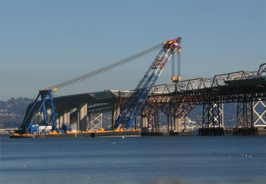 Billed as one of the world's largest floating cranes, the Left Coast Lifter will be going to work this spring on a new span that will replace the Tappan Zee Bridge on the Hudson River north of New York City.