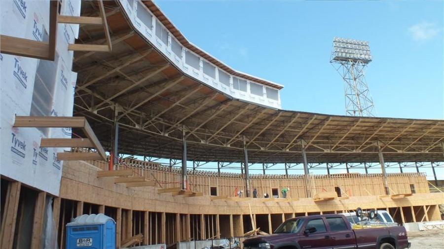 Stadium Lofts, as the complex will now be known, is being built within the shell and historic façade of the stadium in its original form.