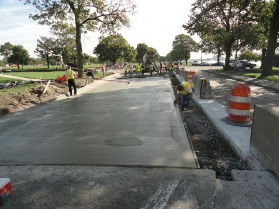 Repaving the roadways on Belle Isle was not on the city's agenda, but repairs were necessitated because of the damage done by the race cars.