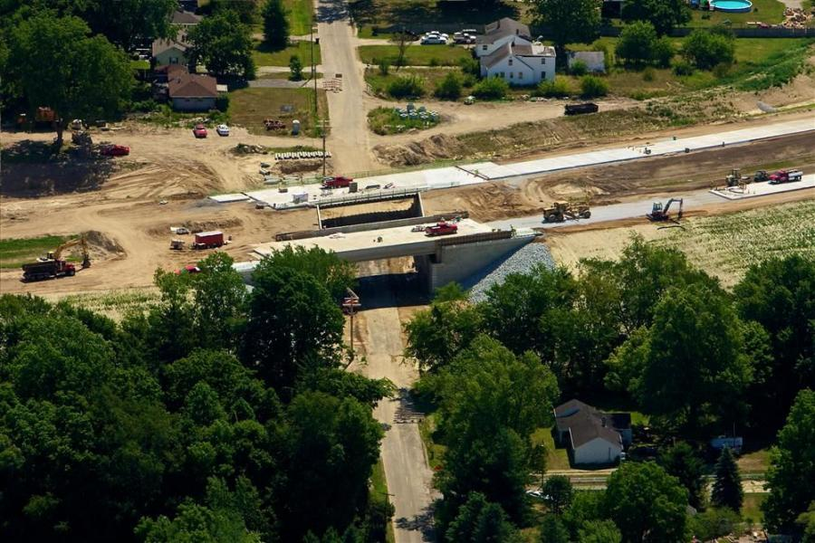 An aerial shot of the new U.S. 31 bridge crossing over Roosevelt Road in South Bend, Ind.