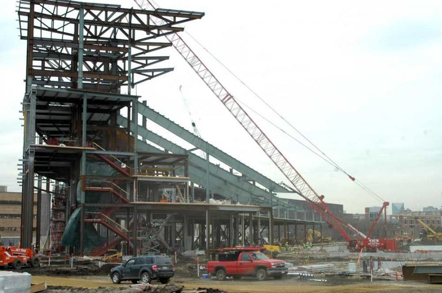 Steel framework goes up on the north side of the structure.