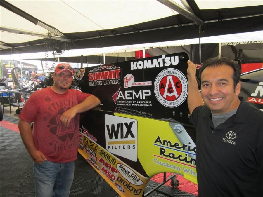 Prior to each race customers and sponsors were able to meet with driver Tony Pedregon (R) like Dustin Sonderegger of Summit Truck Bodies.