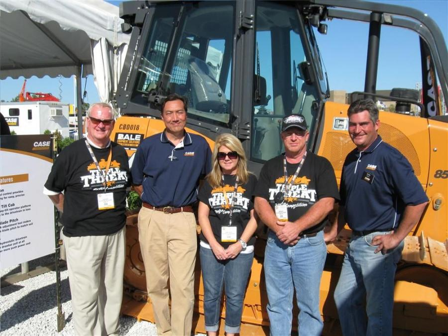 (L-R): Bale's Glen Gish is joined by Case Construction Equipment's Ion Warner, Sheri Talley and Don Miller of Bales and Case Construction Equipment's Curtis Goettel to keep things running smoothly at the rodeo.