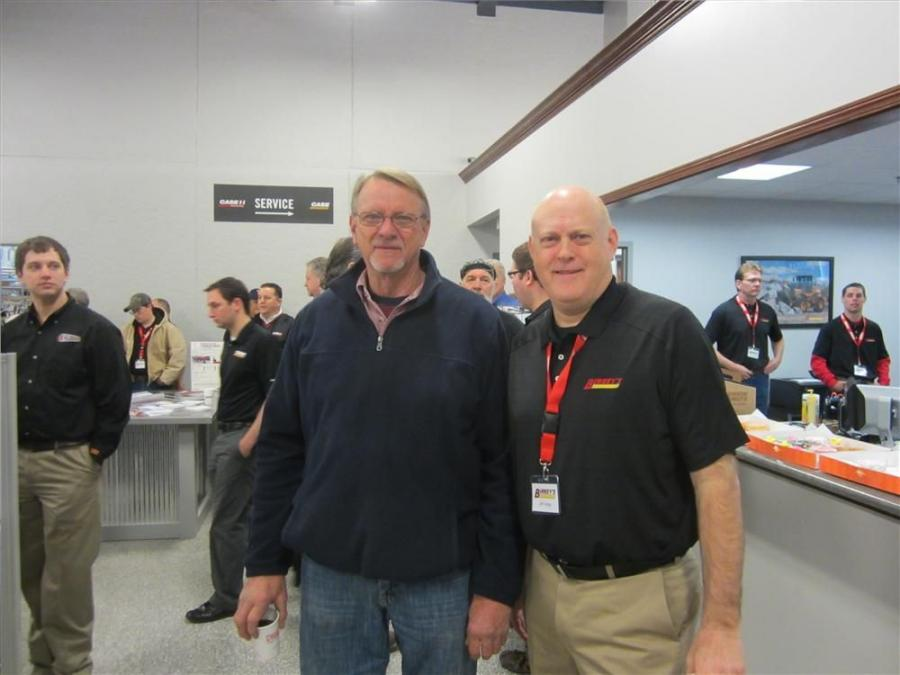 Rodney Bergman (L) of Bergman Farms is welcomed to the open house by Jeff Hedge, regional manager, Birkey's.