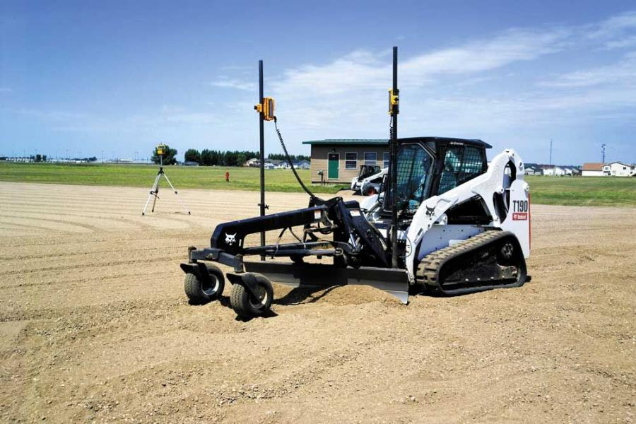 A Bobcat T190 compact track loader with laser-guided grader attachment can achieve a grade within plus/minus 0.25 in. (0.64 cm).