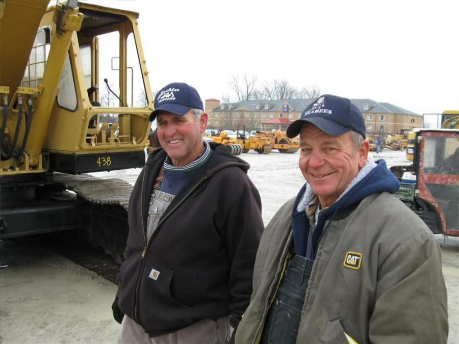 Allen Steckler (L) of Steckler Trenching and Mike Rohleder of Rohleder Excavating are in from Indiana to see the equipment up for bid.