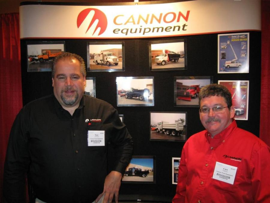 Tony Androsuk (L) and Curt Anderson welcome visitors to Cannon Truck Equipment's booth.