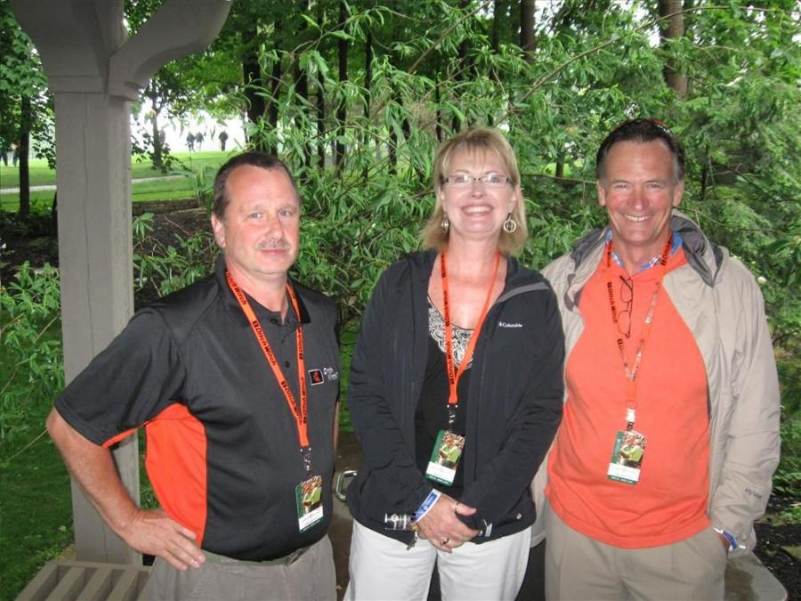 (L-R): Ditch Witch of Ohio's Jim Pape talks with Sue and Dave Dietz of Beaver Creek Landscape & Nursery, Beavercreek, Ohio.