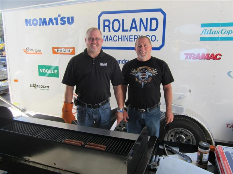 Jay Germann (L) and Mark Seitz handled the cooking duties at the retirement cookout.