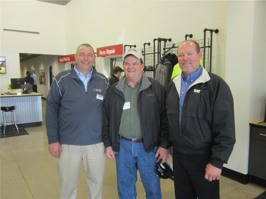 Mike Bauer (L) and Bruce Johnson (R), both of FABCO Equipment, welcome Don Austin of Kraemer Co., to the new facility.