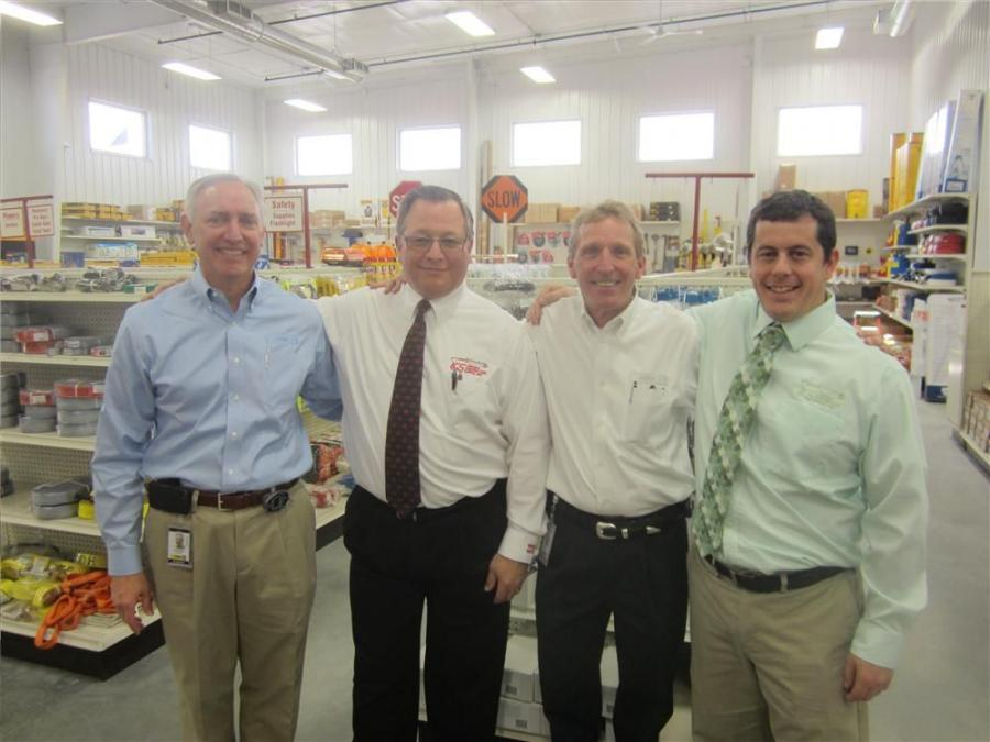 (L-R): Craig McArton, executive VP and COO, FABCO Equipment Inc.; Keith Turtenwald, VP, Lincoln Contractors Supply Inc.; Jere Fabick, president and CEO, FABCO Equipment Inc.; and Aaron Knief, corporate secretary, Lincoln Contractors Supply Inc., welcome c