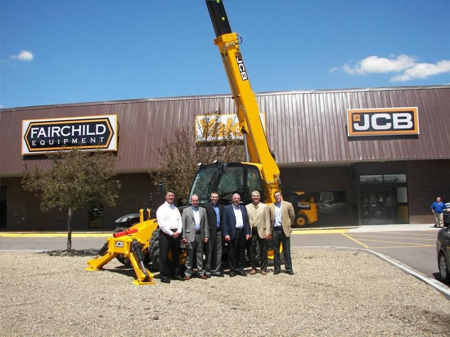 Dan Schmidt, JCB regional vice president of sales; Stuart Hughes, JCB director of manufacturing; Chad Fairchild, Fairchild Equipment vice president of construction; John Patterson, CEO of JCB Inc.; Gary Fairchild, president of Fairchild Equipment; and Van