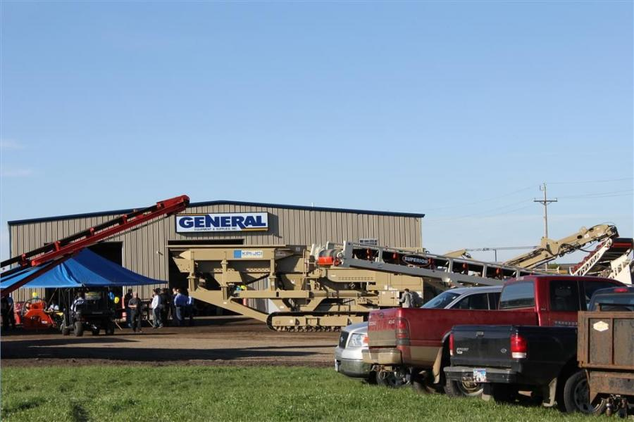 Some of the newest models of aggregate equipment filled the yard of General Equipment's Sioux Falls branch.