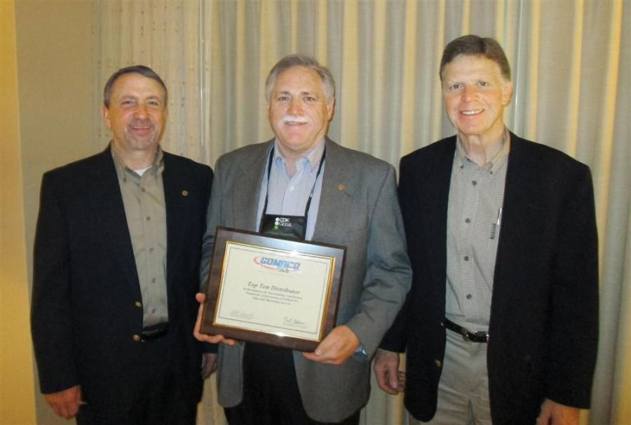 (L-R) are Bob Leonard, GOMACO United States and Canada sales manager; Tom Held, Fabick CAT; and Vinnie Miller, GOMACO United States southeast district sales manager.