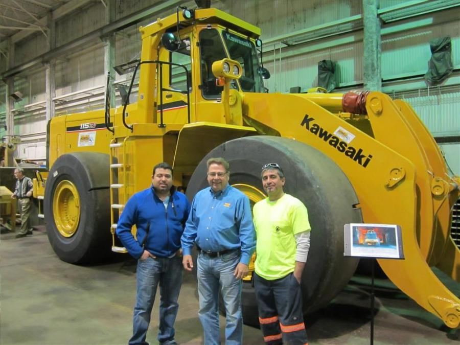 Rudy Becerra (L) and Mercury Pappas (R), North America Stevedoring ask Phil Linoski,  Howell Tractor about the Kawasaki rebuild program.