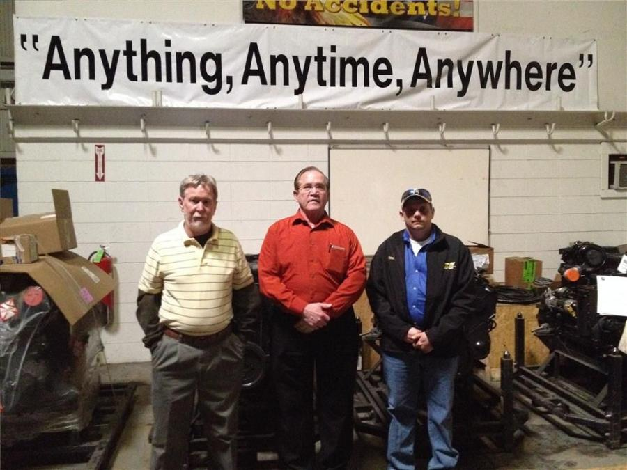 (L-R): Gary Hammond, general service manager of Howell Tractor; Bob Seeman, safety director of Mi-Jack Products; and John Maneno, service manager of Howell Tractor, during the luncheon celebrating seven years without a lost-time accident on March 14.