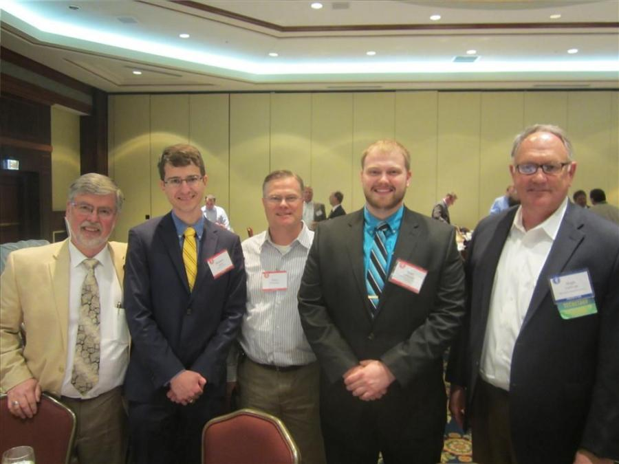 (L-R): Wayne Emmer, representing his son, Jonathan, Illinois Cement Co.; Matthew Sainz, Bradley University; Terry Feldman father of Ryan Feldman; Ryan Feldman, Missouri University of Science and Technology; and Hugh Gallivan, chair of the IAAP Education F