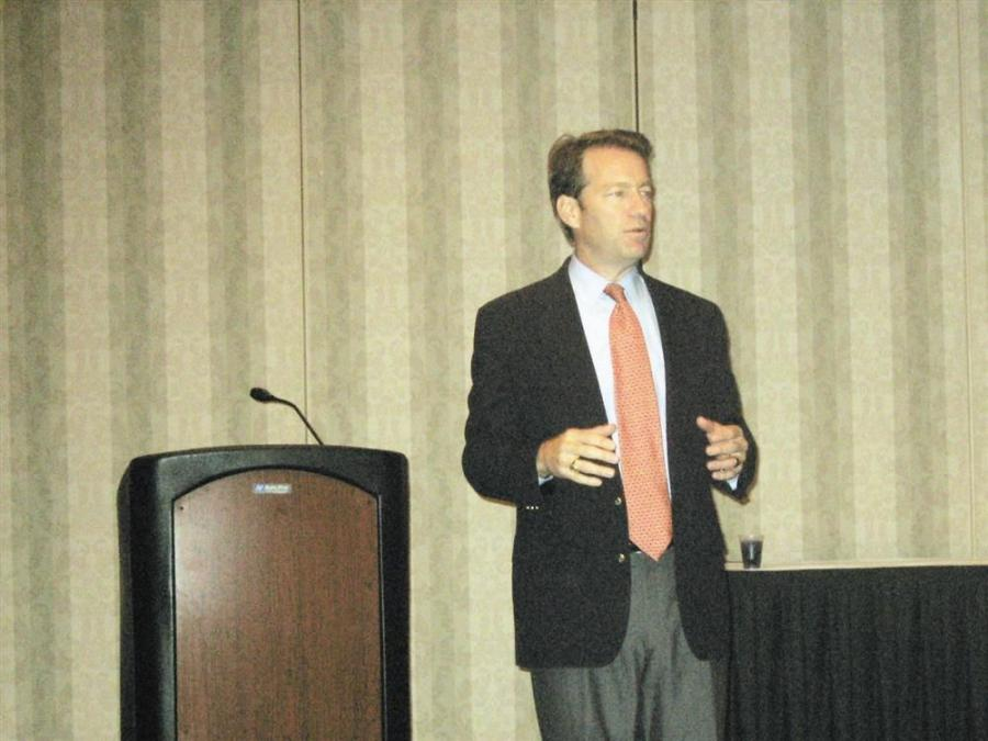 Congressman Peter Roskam (R-IL) answers questions from the Illinois equipment dealers at the Oct. 13 IED meeting.