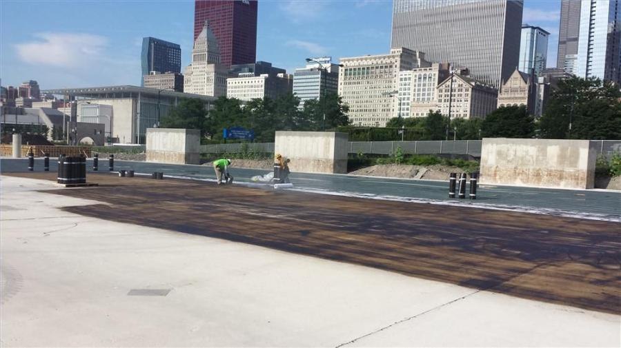 Chicago-based Western Waterproofing Company, a member company of Western Construction Group, recently completed a mammoth project to restore and waterproof a 750,000-sq. ft. (69,677 sq m) concrete parking garage (equivalent to 12 football fields) located