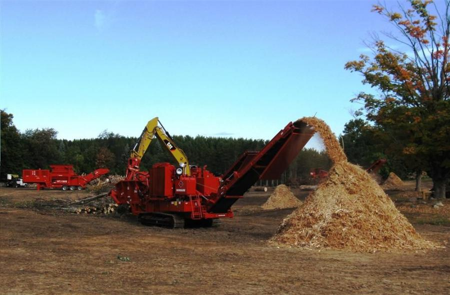 Morbark's 3800XL Wood Hog converts trees into mulch.