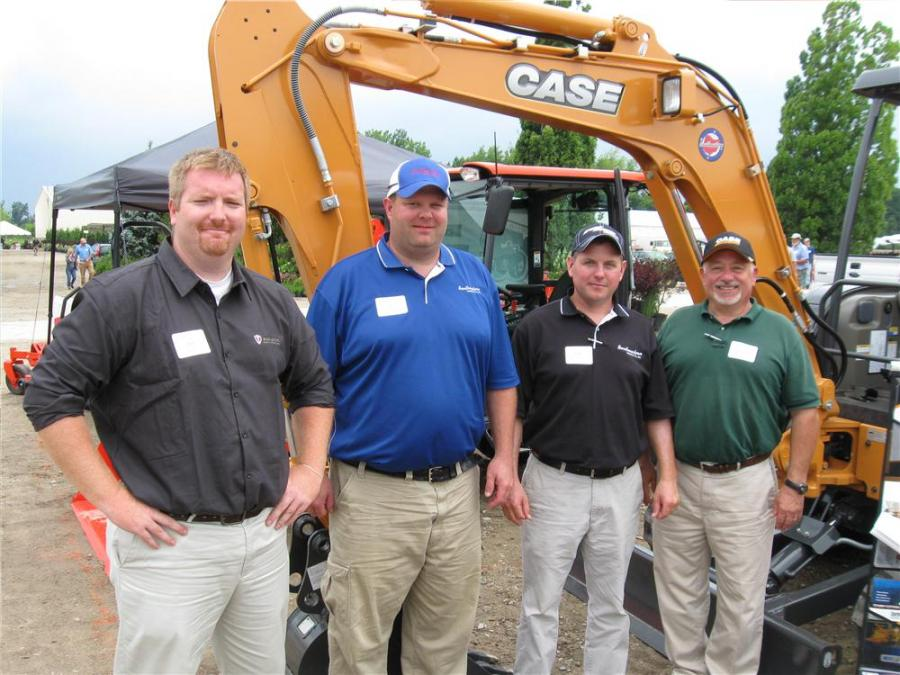 (L-R): Paladin Territory Manager Ryan Hubbard stopped by the Southeastern Equipment Company display to check in with Jon Wickline, Mike Kress and George Nofel.