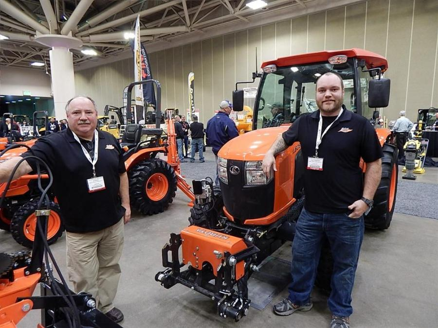 Ed Niebur (L) and Dave Langenfeld of Niebur Tractor & Equipment, Hastings, Minn., one of Minnesota's premier Kubota dealers, are ready to answer questions on this new quick hitch system on a Kubota L6060 cab tractor.