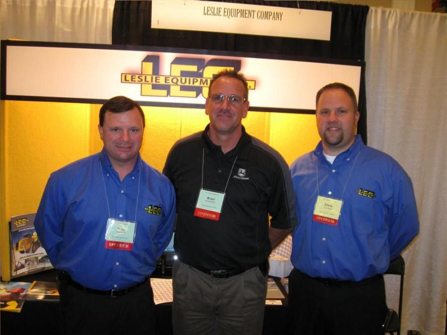(L-R): Todd Perrine, Brian Mayfield and Chris Mears welcome attendees to Leslie Equipment Company's booth at the OCA Winter Conference.