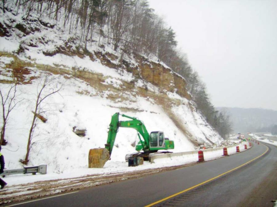 Stable Construction Company uses soil nailing for its emergency stabilizing of the rock slope on U.S. Route 35E in southern Ohio.